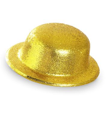 GLITTER BOWLER HAT - GOLD