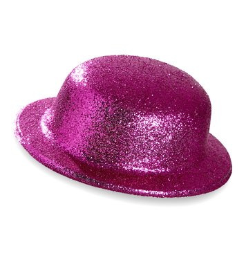 GLITTER BOWLER HAT - PINK