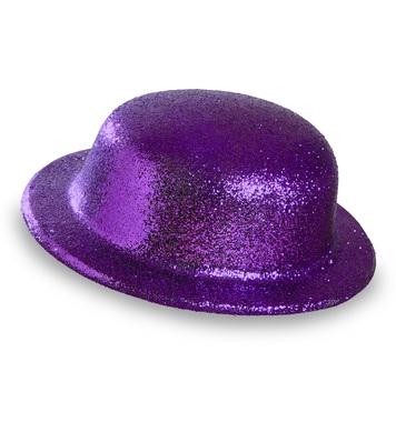 GLITTER BOWLER HAT - PURPLE