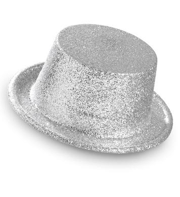 GLITTER TOP HAT - SILVER