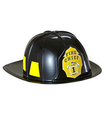 BLACK FIREMAN HAT HARD PLASTIC - ADULT