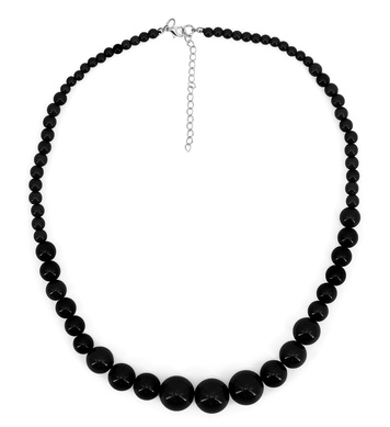 70s BEADED NECKLACE - BLACK
