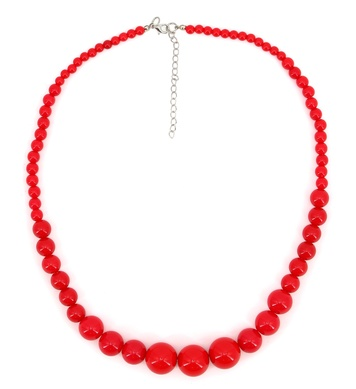 70s BEADED NECKLACE - RED