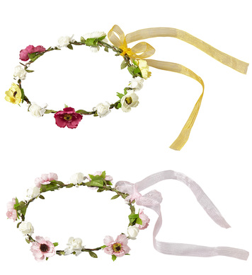 FLOWER DIADEM WITH RIBBON - 2 styles ass