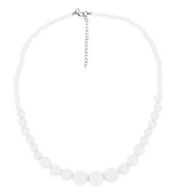 70s BEADED NECKLACE - WHITE