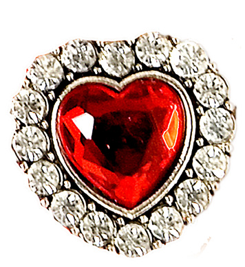 HEART RING W/RED GEM & STRASS