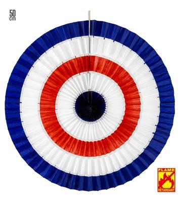 BLUE-WHITE-RED TRICOLOR PAPER FAN 50cm