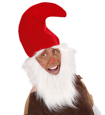 GNOME RED HAT WITH BEARD & EYEBROWS