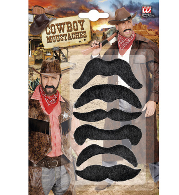 SET OF 6 WILD WEST MOUSTACHES