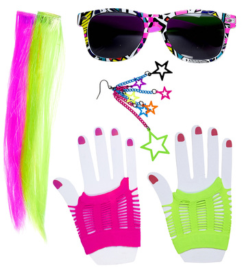 80s GIRL SET (2 neon hair ext earring gloves glasses)