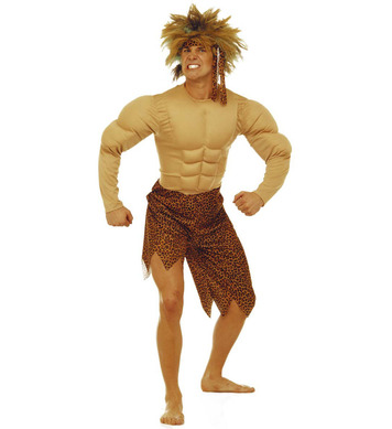 JUNGLE MAN COSTUME (jumpsuit with muscles headband)