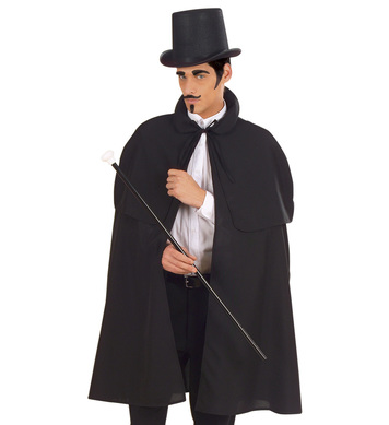 DETECTIVE CAPE BLACK HEAVY FABRIC W/TIPPET