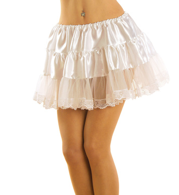 PETTICOAT SATIN / LACE  WHITE