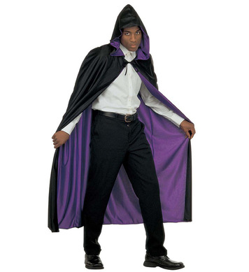 HOODED CAPE REVERSIBLE - BLACK/PURPLE