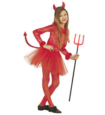 DEVIL GIRL COSTUME (leotard skirt tail horns) Childrens