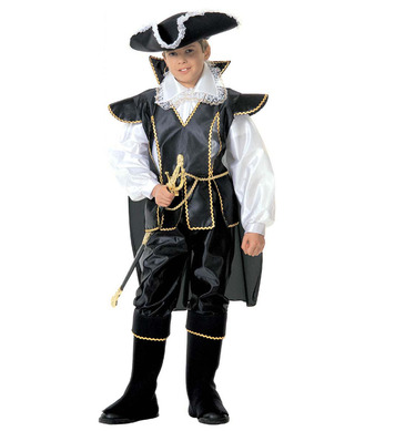 CAPTAIN BLACK (shirt coat w/cape pants hat b/covers) Childrens