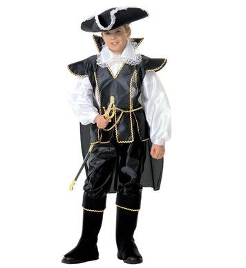 CAPTAIN BLACK (shirt coat w/cape pants hat b/covers) Childrens