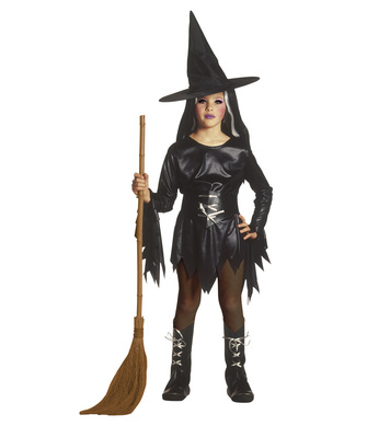 EVIL WITCH COSTUME (dress belt boot covers hat) Childrens