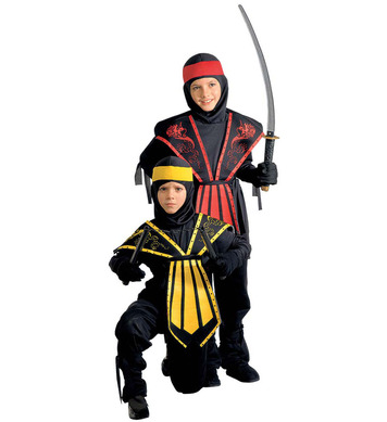 KOMBAT NINJA (jumpsuit chestpiece belt mask h/band) Childrens