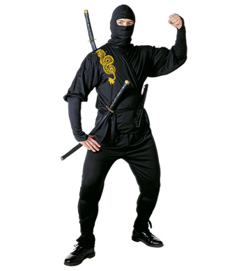 NINJA COSTUME (coat pants belt leg ties mask)
