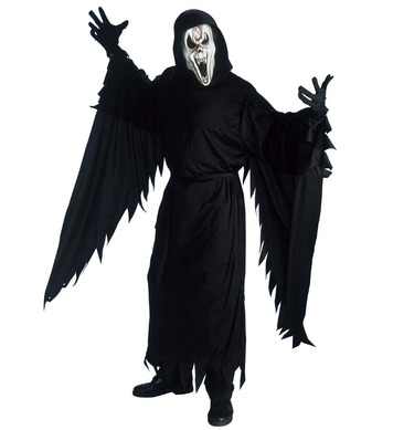 SCREAMING GHOST COSTUME (hooded robe belt gloves mask)