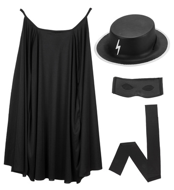 BLACK BANDIT DRESS UP SET  (cape hat eyemask waist sash)