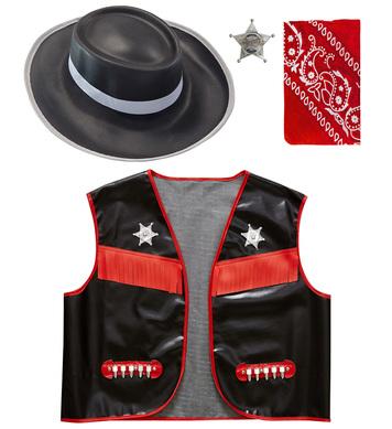 COWBOY - BLACK (vest hat bandana badge) Childrens