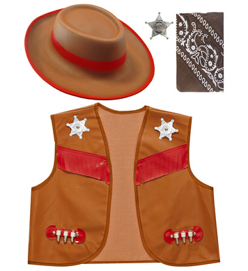 COWBOY - BROWN (vest hat bandana badge) Childrens