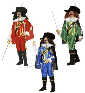 MUSKETEER 3 colours (shirt coat pants cape hat bcov) Childrens