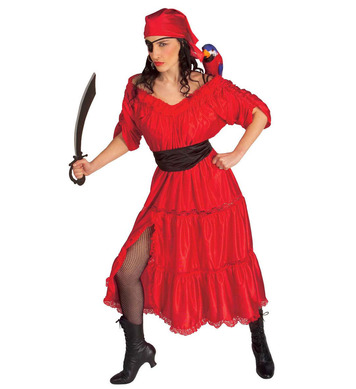 CARIBBEAN WENCH COSTUME (dress belt bandana eye-patch)