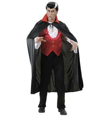 BLACK CAPE W/RED COLLAR - ADULT SIZE