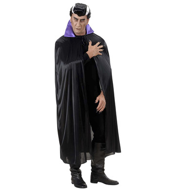 BLACK CAPE W/PURPLE COLLAR - ADULT SIZE