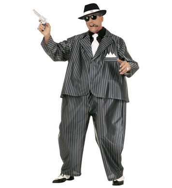 FAT GANGSTER COSTUME (wire hoop jumpsuit jacket tie)