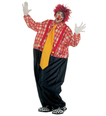 FAT CLOWN COSTUME (wire hoop jumpsuit braces maxi tie)