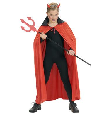 RED CAPE W/BLACK COLLAR - CHILD SIZE