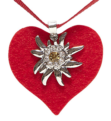 RED HEART RIBBON NECKLACE WITH STRASS EDELWEISS