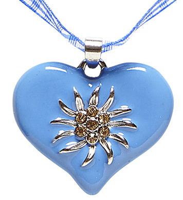 AZURE-WHITE CHECKER RIBBON NECKLACE W/STRASS HEART