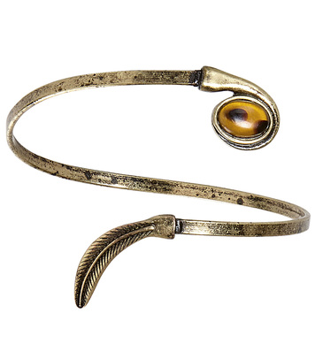 ANTIQUATED GOLD LEAF ARMBAND WITH AMBER GEM
