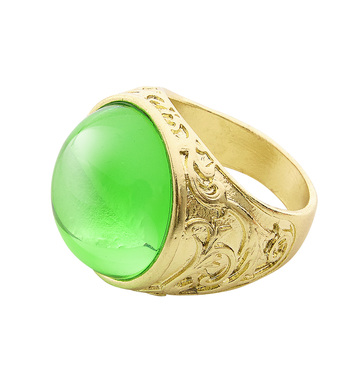 GOLD RING WITH GREEN GEM