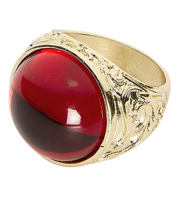 GOLD RING WITH RED GEM