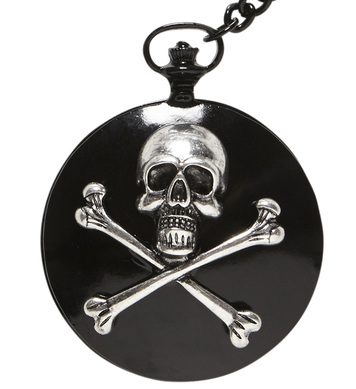 SKULL & CROSS BONES POCKET WATCH WITH CHAIN