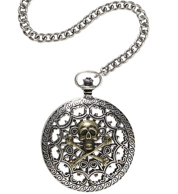 DELUXE SKULL & CROSS BONES POCKET WATCH WITH CHAIN
