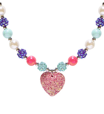 PINK GLITTER HEART BEADED NECKLACE