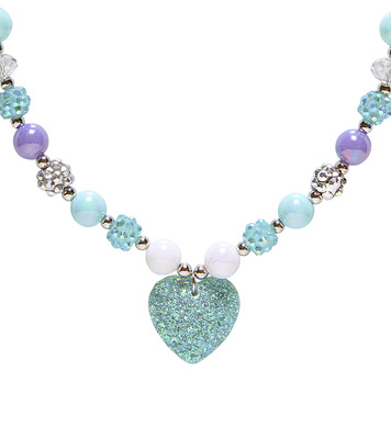 AZURE GLITTER HEART BEADED NECKLACE