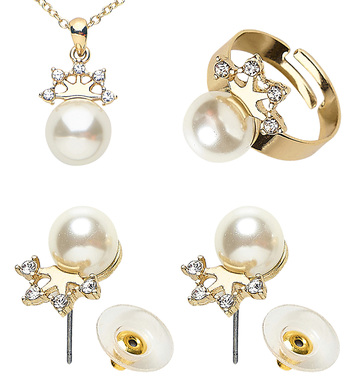 GOLD STRASS CROWN PEARL NECKLACE, EARRINGS & RING
