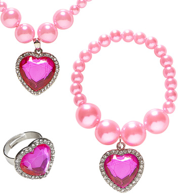 PINK BEADED STRASS GEM HEART NECKLACE, BRACELET & RING