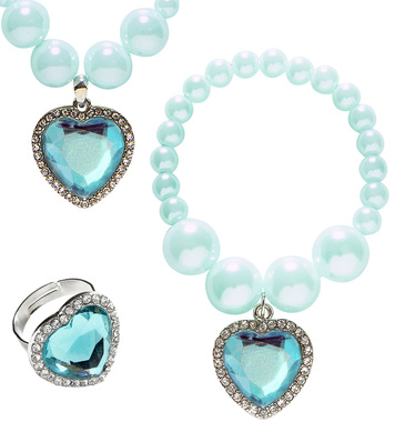 AZURE BEADED STRASS GEM HEART NECKLACE, BRACELET & RING