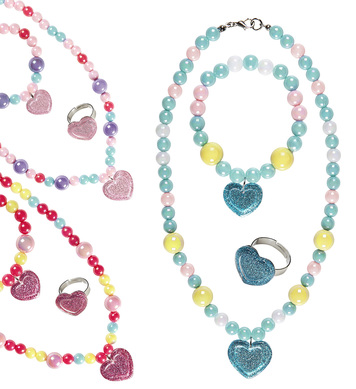 GLITTER HEART BEADED NECKLACE, BRACELET & RING 3 colors ass
