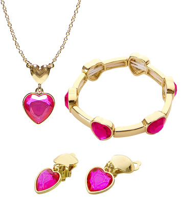 GOLD PINK GEM HEART NECKLACE, EARRINGS & BRACELET