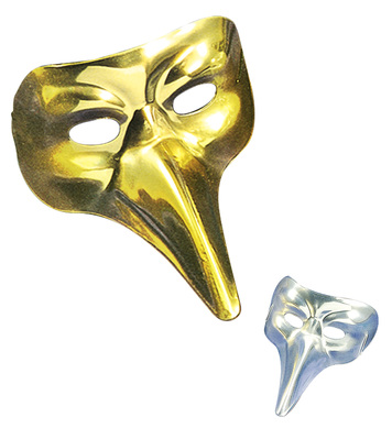 VENETIAN MASK W/LONG NOSE - GOLD or SILVER